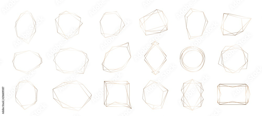 Fototapety, obrazy: Gold collection of geometric frame. Decorative element for logo, branding, card, invitation.