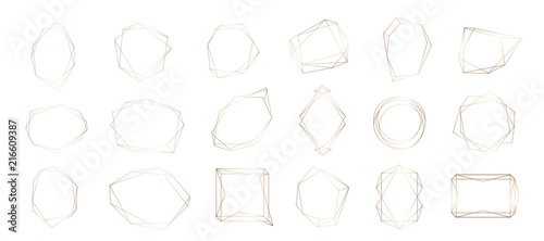 Gold collection of geometric frame. Decorative element for logo, branding, card, invitation.