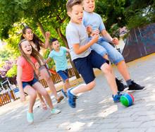 Happy Children  Playfully Runn...