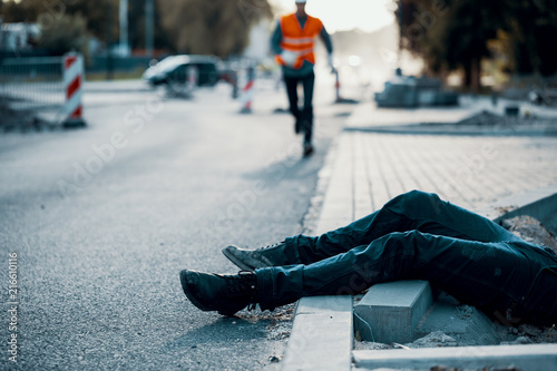 Died person on the street after accident at roadworks Canvas Print