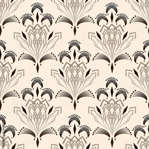 Fototapety beżowe seamless-art-deco-modern-drawing-graphic-ornament-beige-background