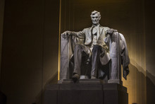 Abraham Lincoln Statue At Night Inside The Lincoln Memorial