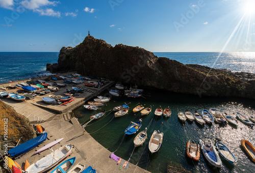 Fotobehang Poort Port in the Framura village (Porto Pidocchio), La Spezia, Liguria, Italy