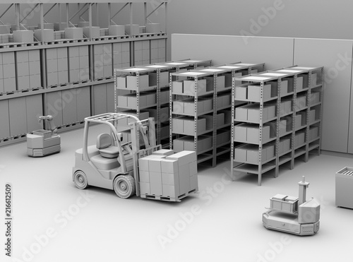 Valokuva  Clay rendering of AGV robots, electric forklift with cardboard boxes in modern distribution center