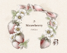 Engraved Strawberry Wreath