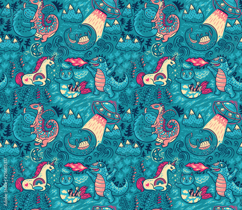 Valokuva Fantastic creatures, animals pattern. Vector cute background