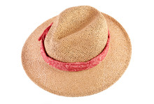Wicker Straw Flaxen Hat With Red Ribbon On Isolated White Background. Fashion Accessory. Female Summer Hat.