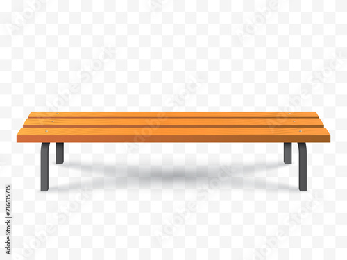 Vector Bench isolated. Park wooden bench illustration Wallpaper Mural