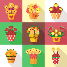 Assorted Colorful Fruits And Berries Arranged Into A Decorative Bouquet. Different Pots With Fruits In Bloom Carved As Flowers. Fresh Strawberries, Pineapple And Heart-shaped Watermelon Compositions.