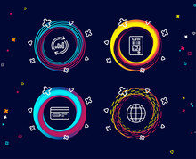 Set Of Update Data, Credit Card And Coffee Vending Icons. Globe Sign. Sales Chart, Card Payment, Coffee Vending Machine. Internet World.  Circle Banners With Line Icons. Gradient Colors Shapes. Vector