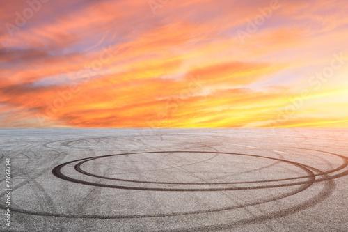 Car drift asphalt square scene at sunrise Fototapete