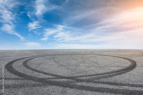 Car drift asphalt square scene at sunrise Tableau sur Toile