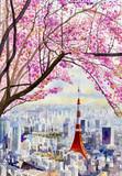 Wiśniowe kwiaty i symbol Tokyo Tower w Japonii. - 216618516
