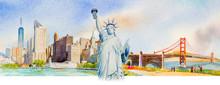 Statue Liberty, Manhattan Urba...