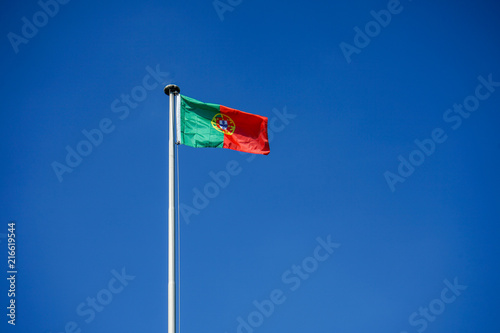 portugal national flag and blue sky Poster