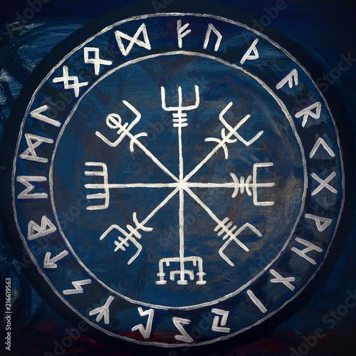 Photo  Handpainted Vegvisir, viking compass, protecting runes