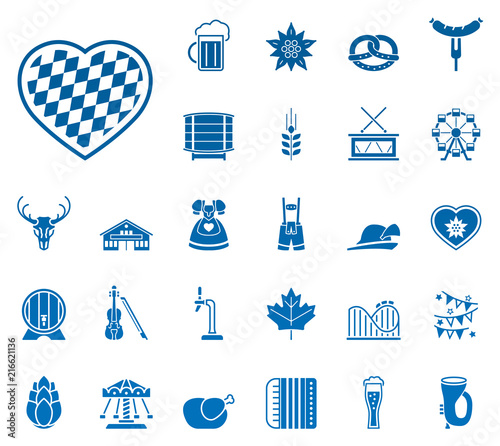 Oktoberfest - Iconset (in Blau/ Weiß) Wallpaper Mural