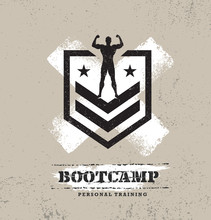 Fitness Body Training Extreme Sport Outdoor Bootcamp Rough Vector Concept. Creative Textured Design Elements