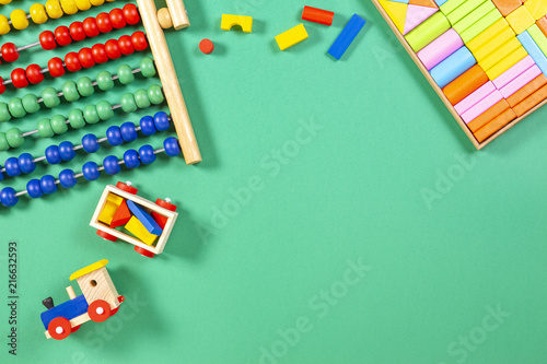 Kids Toys Background With Wooden Cubes Toy Abacus And Train Buy