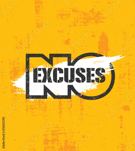 Obraz No Excuses. Fitness Gym Muscle Workout Motivation Quote Poster Vector Concept. Creative Bold Inspiring Typography - fototapety do salonu