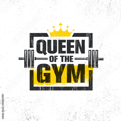 Photo  Inspiring Woman Female Workout and Fitness Gym Motivation Quote Illustration Sign