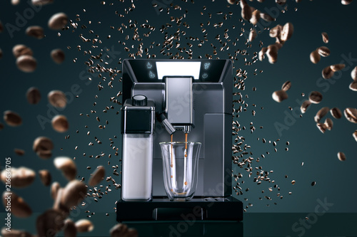 Slika na platnu Coffee machine with flying coffee beans across it on dark background