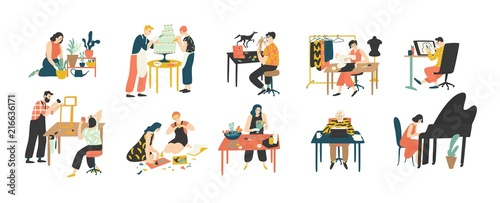 Collection of people enjoying their hobbies - home gardening, culinary, sewing, drawing, paper collage making, floristics, writing, piano playing Canvas