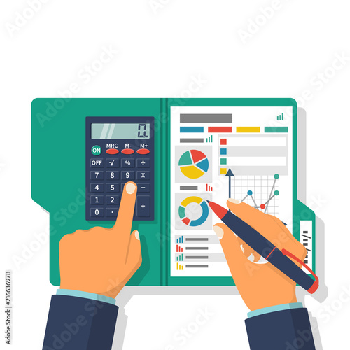 Fototapeta Financial accounting concept. Organization process, analytics, research, planning, report, market analysis. Flat style vector. Businessman holding pen, clipboard financial tables, graphs. obraz