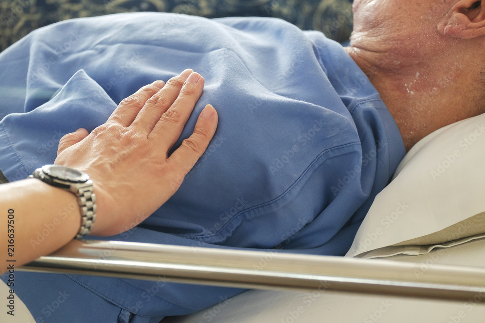 Fototapeta Woman Touched and Praying For Sick Old Man in the Hospital