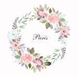Vector illustration with Eiffel tower with a waterolor floral wreath - 216637596