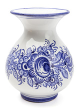 Vase Painted With Blue Flowers
