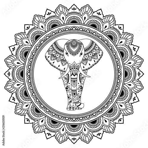 African elephant in mandala decorated with Indian ethnic floral vintage pattern. Hand drawn decorative animal in doodle style. Stylized mehndi ornament for tattoo, print, cover and coloring page.