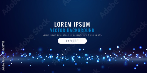 Fototapeta blue background with floating particles, technology concept obraz