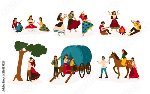 Photo  Set of lifestyle scenes with gypsies or Romani people performing various activities - riding horse, playing guitar and dancing, sitting on traditional wagon, telling future