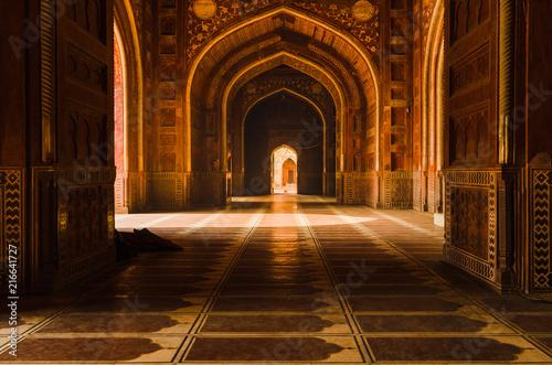 Fotografie, Obraz  Decorated corridors and hallways in the Taj Mahal main mosque, Agra, India