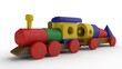 3D illustration of a wooden toy, a train with a car and designer details. Toy of wooden elements, transport designer, the idea of childhood, gift, development. Image on white background, isolated.
