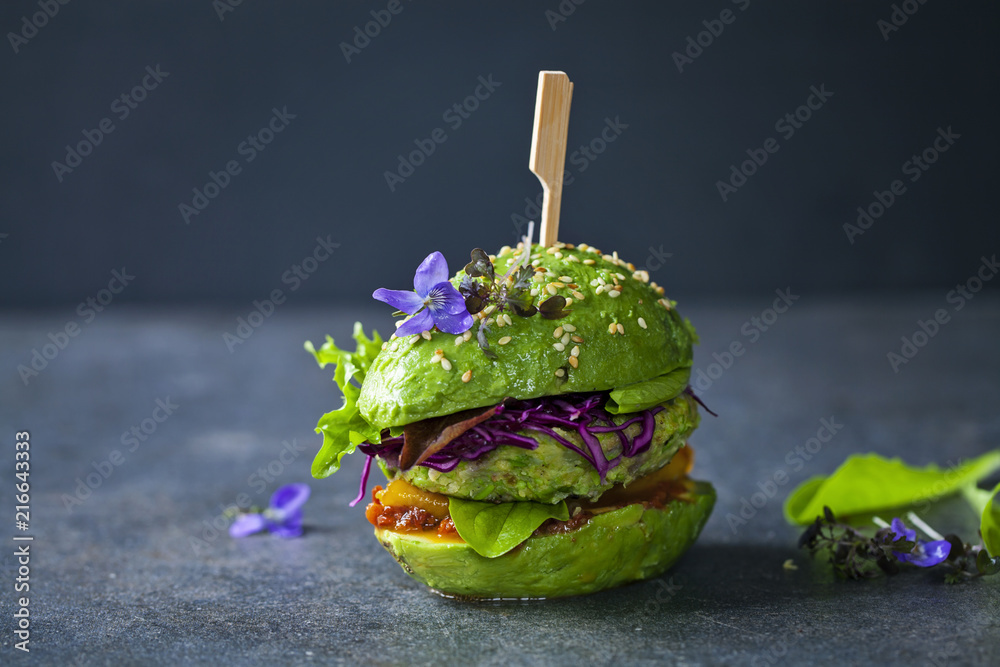 Fototapety, obrazy: Avocado sandwich with green vegan burger,  roast yellow pepper and pickled red cabbage