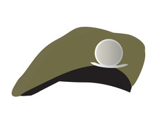 Green Military Hat On White Background