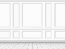 Classic Interior Of The Living Room. Parquet Floor And White Wall Decorated With Moulding Panels. Vector Detaled Realistic Illustration.