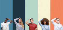 Group Of People Over Vintage Colors Background Confuse And Wonder About Question. Uncertain With Doubt, Thinking With Hand On Head. Pensive Concept.