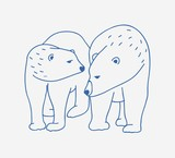 Adorable pair of polar bears hand drawn with contour lines on white background. Doodle drawing of couple of cartoon wild Arctic carnivorous animals walking together. Childish vector illustration. - 216652351