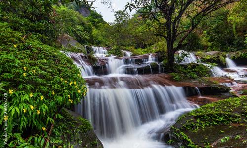 Recess Fitting Waterfalls Tad-Wiman-Thip waterfall, Beautiful waterfall in Bung-Kan province, ThaiLand.