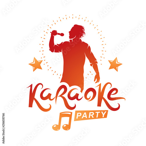 Karaoke party advertising poster composed with stage or