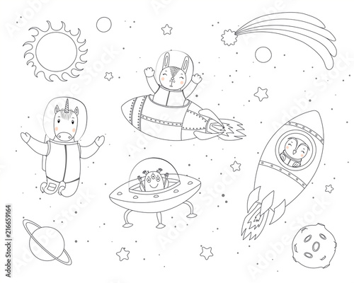 Printed kitchen splashbacks Illustrations Hand drawn black and white vector illustration of cute funny bunny, owl, unicorn astronauts, alien in space, with planets, stars. Isolated objects. Line drawing. Design concept children coloring pages
