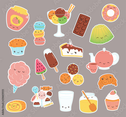 Printed kitchen splashbacks Illustrations Set of kawaii funny sweet food doodle stickers with cake, cookies, ice cream, candy, jam, macarons. Isolated objects. Hand drawn vector illustration. Line drawing. Design concept dessert, kids print.