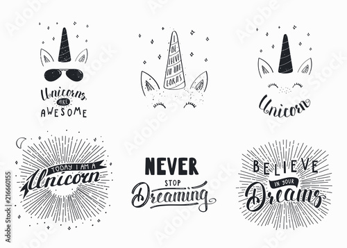Photo Stands Illustrations Set of hand written funny inspirational lettering quotes about unicorns, dreams. Isolated objects. Hand drawn black and white vector illustration. Design concept for t-shirt print, motivational poster
