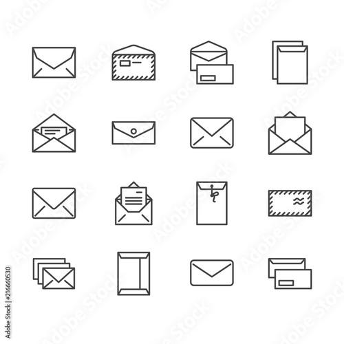 Cuadros en Lienzo Envelopes flat line icons