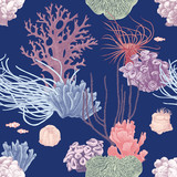 Seamless pattern with hand drawn coral reef - 216661934