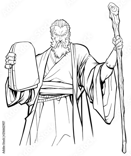 Cuadros en Lienzo Line art portrait of Moses holding the stone tablets with the Ten Commandments and his wooden staff