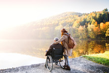 Senior Couple With Wheelchair ...